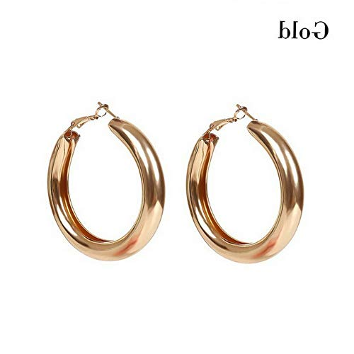 (Tomikko Punk Rock Minimalist 55mm Thick Tube Big Gold Round Circle Hoop Earrings | Model ERRNGS - 8552 | )