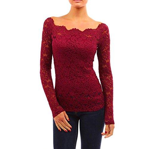 Shoulder Boatneck (Goddessvan Women's Long Sleeve Boat Neck Floral Lace Shirt Off Shoulder Twin Set Top (L, Wine Red))