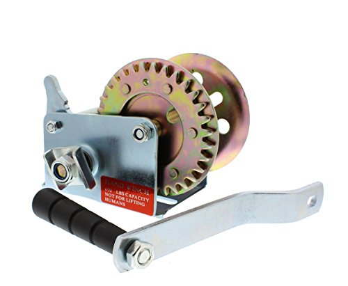 Single Speed Hand Winch Capacity - ABN Hand Winch Crank Gear Winch, Heavy Duty Single-Speed, up to 600 lb for Trailer, Boat or ATV