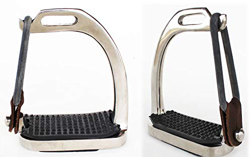 e English Youth Stainless Steel Safety Peacock Breakaway Stirrup Irons 3-1/2