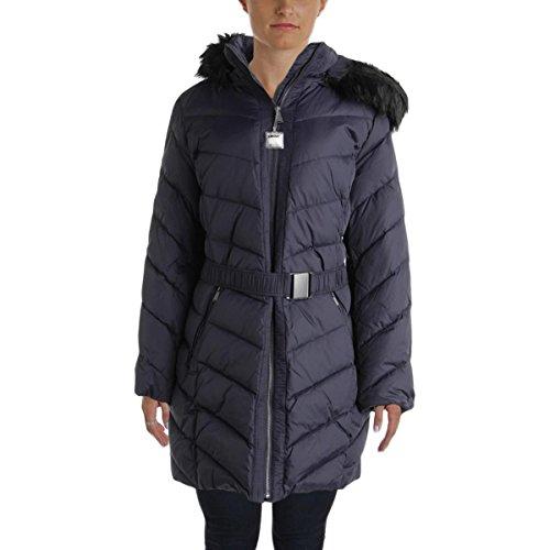 DKNY Womens Down Faux Fur Parka Navy - Coats Dkny Down