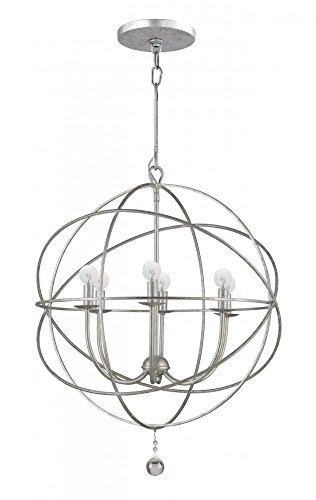 Crystorama 9226-OS Transitional Six Light Chandeliers from Solaris collection in Pwt, Nckl, B/S, Slvr.finish,