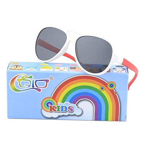 CGID Soft Rubber Kids Aviator Polarized Sunglasses for Children Age 3-5,K93