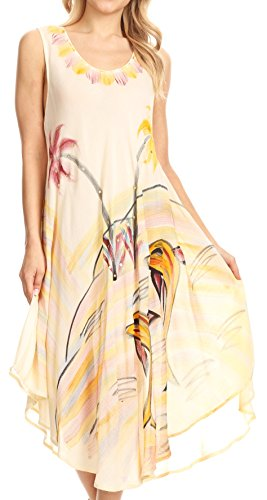 Dress Cover Valentina Light Summer Beige Stampa Tropicale up Con Caftan Sakkas qOYfwRR
