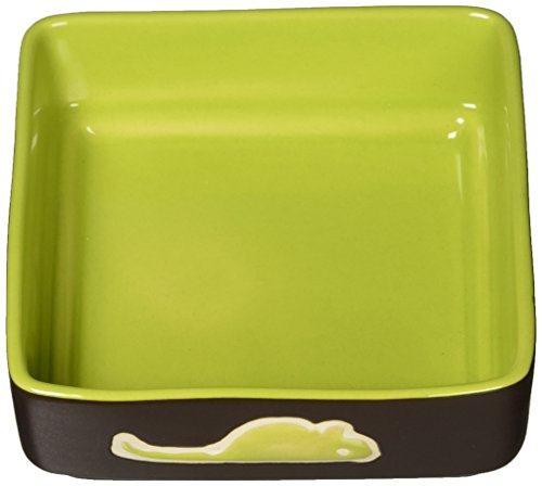 Image of Ethical Pet Products (Spot) CSO6934 Four Square Ceramic Cat Dish, 5-Inch, Green