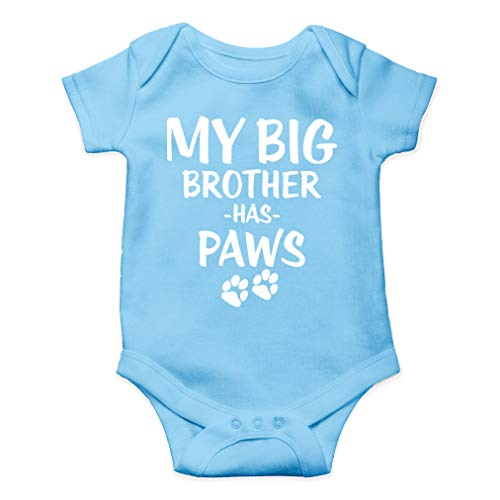 My Big Brother Has Paws - Animal Lover - Cute One-Piece Infant Baby Bodysuit (6 Months, Light Blue) (Best Baby Gifts From Aunt)