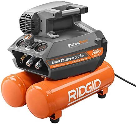 RIDGID 200 psi 4.5 Gal. Electric Quiet Compressor Orange