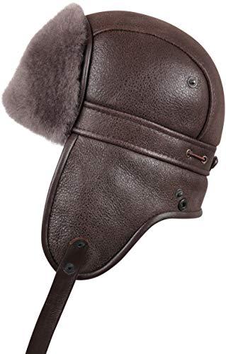 Zavelio Unisex Shearling Sheepskin Aviator Russian Ushanka with Snap Hat Cashmere Medium
