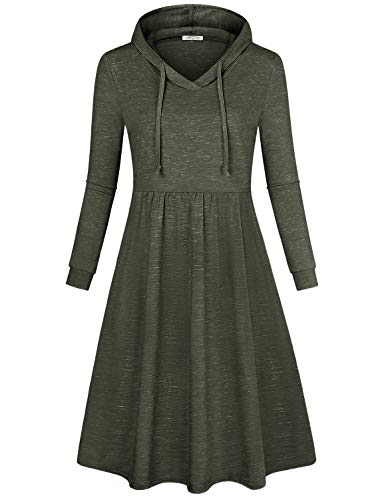 - SeSe Code Long Tunic Dress for Women, Women Casual Daily Wear Long Sleeve with Hooded Draped Knit Flared Hemline Figure Flattering Soft Surroundings Midi Swing Fall Dresses Army Green Medium