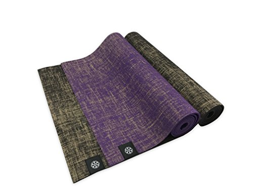 "IcyFit 2in1 Reversible Natural Jute Yoga Mat with Carry Straps, 72"" x 24"" x 5mm, Eco-Friendly, No-slip (Purple) For Sale"