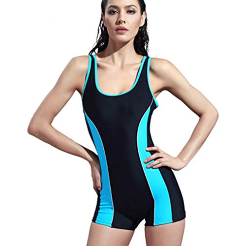 Allywit Woman One Piece Short Sleeve Snorkeling Surfing Swim Suit 2mm Neoprene Conjoined Diving Suit Thin Wetsuit New Sky Blue by Allywit (Image #1)