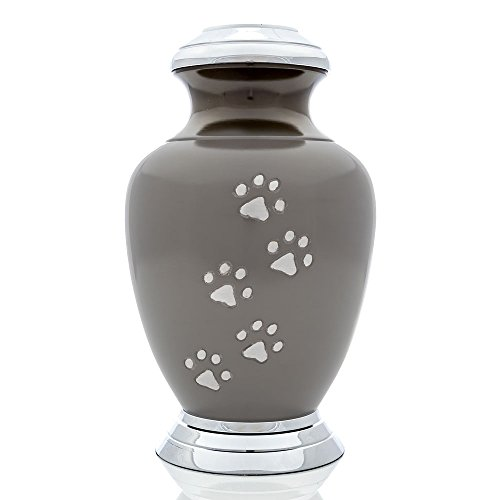 Small Slate Arcadia Series With Vertaical Pewter Paws and Chrome top/base Pet Urn, 6