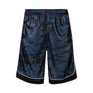 HQUEC Men's Camo Basketball Shorts Long Gym Workout Sport Shorts with Side Pockets Blue/C1 2XL
