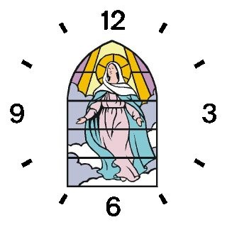 Virgin Mary (Stained Glass) Christian Theme - WATCHBUDDY ELITE Chrome-Plated Metal Alloy Watch with Metal Mesh Strap-Size-Large ( Men's Size or Jumbo Women's Size )