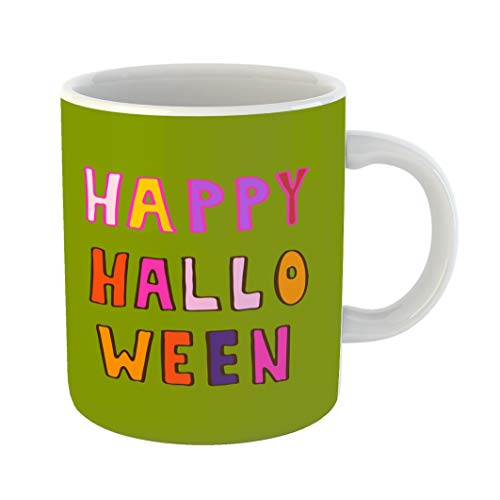 Emvency 11 Ounces Coffee Mug Orange All Lettering Helloween Phrases on Green Saints Day Autumn Black Celebration White Ceramic Glossy Tea Cup With Large C-handle -
