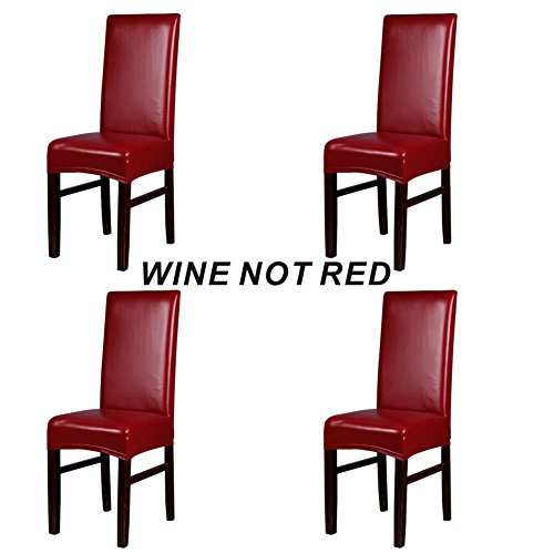 Red Leather Recliners (Dining Chair Covers, My Decor Solid Pu Leather Waterproof Stretch Dining Chair Protctor Cover Slipcover , Wine, 4 Pack)