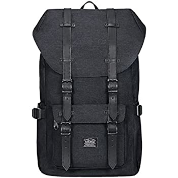 "Kaukko Laptop Outdoor Backpack, Travel Hiking& Camping Rucksack Pack, Casual Large College School Daypack, Shoulder Book Bags Back Fits 15"" Laptop & Tablets(1Linen Black)"