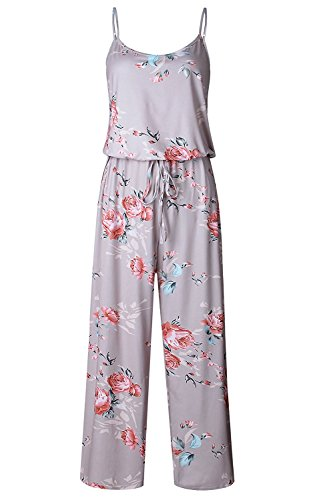 NEWCOSPLAY Women's Sexy Casual Sleeveless Jumpsuit Stretch Wide Long Pants Jumpsuit Rompers (XXL, Khaki) ()