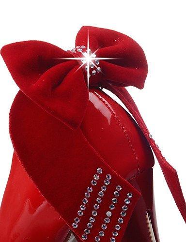 Lackleder GGX uk4 Weiß Rot Damen us6 High Schwarz eu36 Absätze Büro cn36 Blockabsatz Heels Lässig black XvXSqwr6