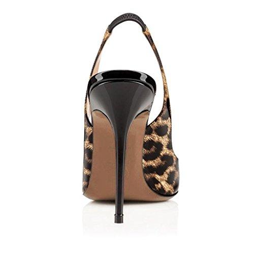 Arc-en-Ciel los zapatos de las mujeres de las bombas del alto talón del slingback del dedo del pie redondo Leopard