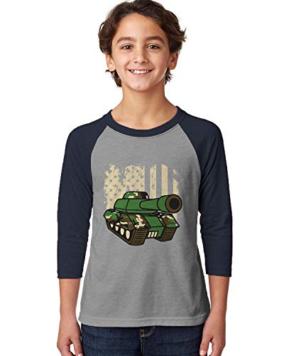 SpiritForged Apparel American Flag Army Tank Youth 3/4 Raglan Shirt, Navy/Heather Large -