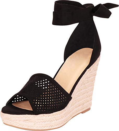 Cambridge Select Women's Laser Cutout Perforated Ankle Tie Chunky Espadrille Platform Wedge Sandal,8 B(M) US,Black IMSU ()