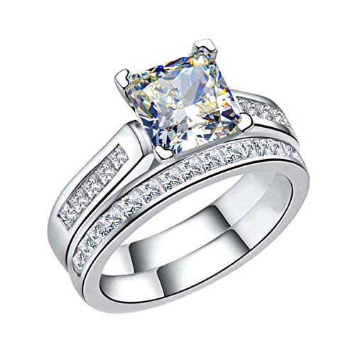 (14k Real White Gold 2.50 Ct Princess & Round Cut Simulated Daimond Solitaire With Accents Bridal Set Engagement Ring 9 )
