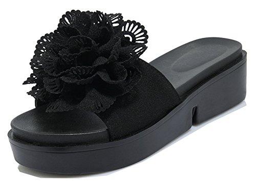 Epais Décor Belle Fleur Plateforme Aisun Noir Mules Femme Uw7xpnqRtE