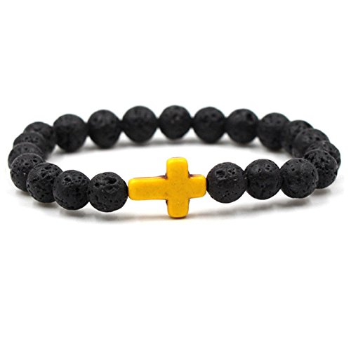 Beaded Cross Craft (Fashion Mens Beaded Bracelet Lava Rock Stone Turquoise Cross Elastic Yoga Gift Yellow)
