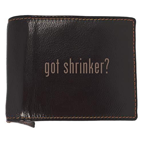 got shrinker? - Soft Cowhide Genuine Engraved Bifold Leather Wallet (Shrinker Saddle)