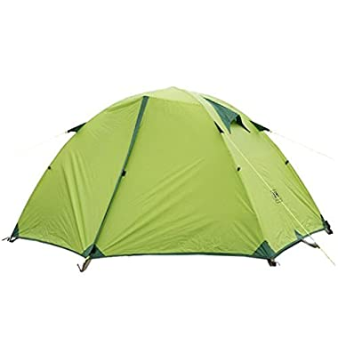 Weanas® 2 Person 3 Season Double Layer Silicone Coating Fabric Backpacking Tent, Waterproof PU 10000mm Aluminum Rod Anti-UV Windproof, for Outdoor, Camping, Hiking, Travel (Green)