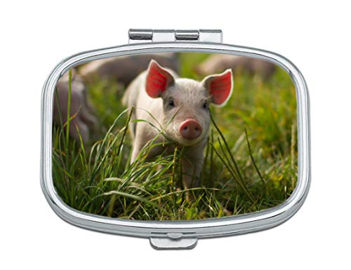 - Pill Box - Portable Rectangular Metal Silver Pills Pill Case, Compact 2 Space, Customized Pattern Design Pill Boxes, Pill Cases for Travel/Pocket/Purse. (Cute Pig)