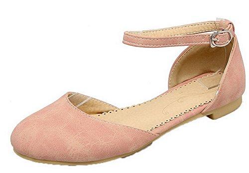 Women Closed Heels Pink Buckle Sandals Pu Solid Toe VogueZone009 Low xvHPpqx