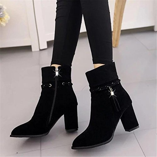 Plattform Stiefel Spitz Wildleder Damen Schuhe Mid Kurze Winter Neue Zehen Herbst Tassel Work Martin Fashion Stiefel NVXIE Rough Party EUR37UK455 Heel Strappy dZaXqAX