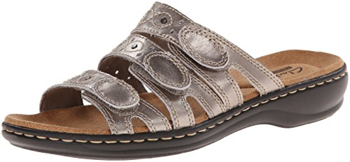 Extra Wide Leather Sandals - CLARKS Women's Leisa Cacti Slide Sandal, Pewter Leather, 6 M US