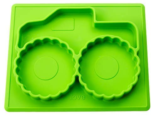 """Silicone Baby Plate – """"Mini Monster Truck Tray is Perfect for Junior Drivers, Toddlers, and Child Alike. Jam Packed for Happy Mat Feeding Time with a Divided Mat."""