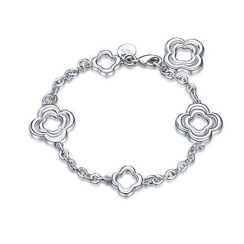iCAREu Silver Plated Floral Adjustable Charm Bracelet for Women, Girls, - Mall Crystal New London