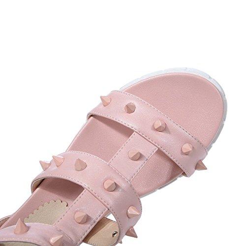 AllhqFashion Women's Open Toe Zipper PU Zipper Low Heels Sandals Pink WyISCWigux