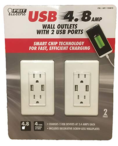 Feit Electric 2-Pack Tamper Resistant Wall Outlet 120V, with (2) USB Ports 4.8 amp