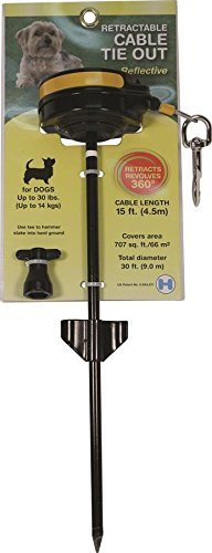 Small, Rotates 360 Degrees for Maxium Play Area, Dog Retractable Tie-Out Cable by Howard Pet