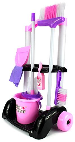 Velocity Toys Little Helper Cleaning Trolley Cart '32' Children's Kid's Pretend Play Toy Cleaning Play Set w/ Cart, Broom, Mop, Bucket, Dust Pan, Brush, Cleaning Rag, Mock Soap Bottle by Velocity Toys by Velocity Toys
