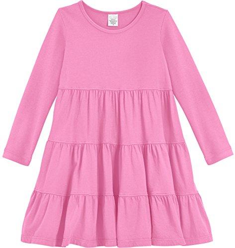 City Threads Little Girls' Cotton Long Sleeve Tiered Ruffle Dress, Medium Pink, 5