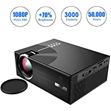 OKEUS 3000 Lumens Mini Projector 1080P Portable LED Projector HD Home Theater with 2019 Updated Low Noise Stereo Speaker,Support HDMI VGA AV USB TV,Perfect for Android TV Box,Black