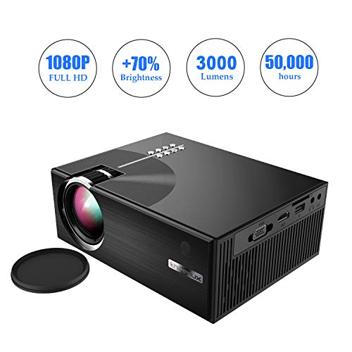- OKEUS 3000 Lumens Video Projector 1080P Portable LED Projector HD Home Theater with Stereo Speaker, Support HDMI VGA AV USB TV, Perfect for Android TV Box/Amzon Fire Stick, Black