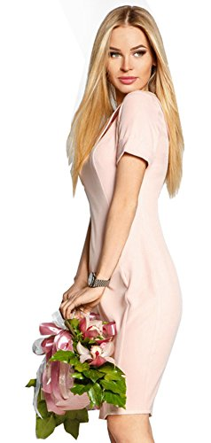 Dd.up Col Turndown Forme Slim Femme Manches Courtes Robe Longue Moulante Midi Jupe Rose
