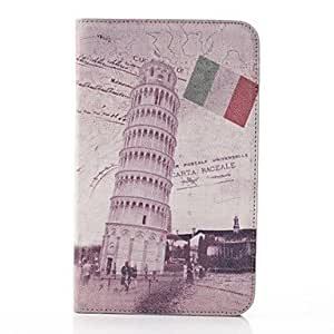 PEACH Building Pattern PU Leather and Hard Back Cover Pouch for Samsung Tab 3 Lite T110