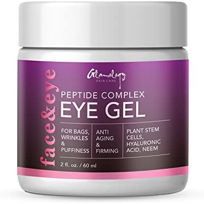 Glamology Eye Gel for Dark Circles, Puffiness, Wrinkles & Bags with Peptides, Plant Stem Cells, Neem & Hyaluronic Acid, The Most Effective Anti-Aging Eye Gel for Under and Around Eyes (2 oz.)