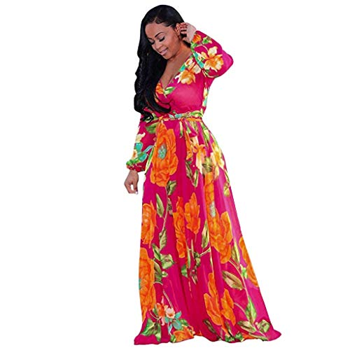 Women's Casual Floral Printed Long Maxi Dress with Belt Elegant Vintage Half Sleeve Boho Swing Party Holiday Dress Pink ()