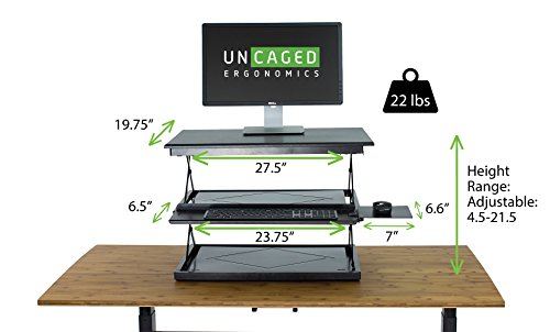 CHANGEdesk 2  Tall Ergonomic Laptop U0026 Desktop Standing Desk Conversion +  Height Adjustable Keyboard Tray.