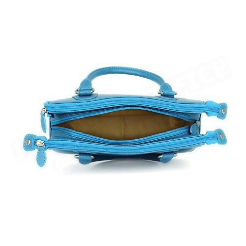 Mini sac Cabas Monaco cuir Bleu turquoise Beaubourg